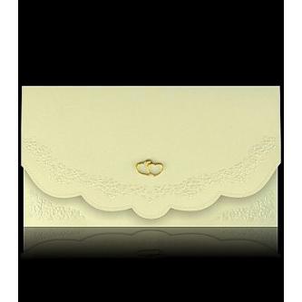 Béžové otevírací svatební oznámení, 170x90, motiv zlatých srdcí, zlatý tisk.