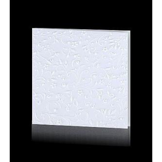 Krémové otevírací svatební oznámení, 135x135, vložený pauzovací papír, hnědý tisk.