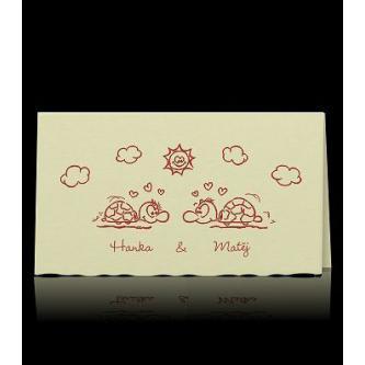 Veselé svatební oznámení, 160x90, vínový tisk, kartička.