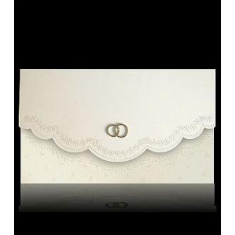 Béžové otevírací svatební oznámení s ozdobným okrajem, 170x100, moti snubních prstenů, zlatý tisk.
