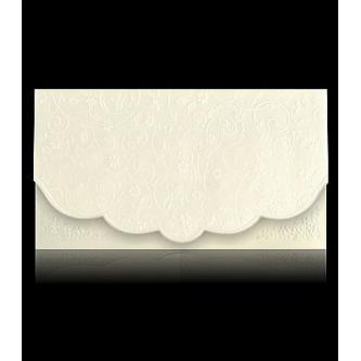 Vícestránkové krémové svatební oznámení, 170x97, bílý průsvitný pauzovací papír s plastickým vzorem, perleťovo-krémový vnitřní papír, zlatý tisk.