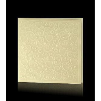 Otevírací béžové svatební oznámení, 140x140, plastický vzor, zlatý tisk.