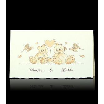 Roztomílé svatební oznámení, otevírací, 160x90, hnědý termografický tisk.