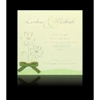 Zelenkavé svatební oznámení, kartičkový styl, 135x135, stříbrný tisk.