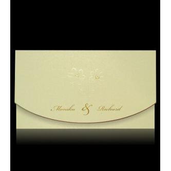 Béžové otevírací svatební oznámení, 160x90, motiv srdcových kytiček, zlatý tisk.