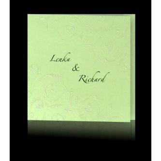 Zelené otevírací svatební oznámení, 135x135, perleťový slepotisk, zelený tisk.