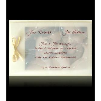 Svatební oznámení z více vrstev, 170x115, hnědý tisk.