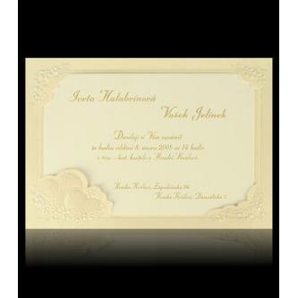 Béžové svatební oznámení, 160x110, karta na vkládání, perleťový slepotisk, zlatý tisk.