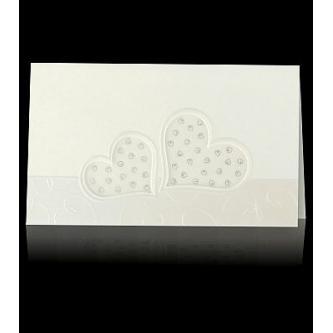 Otevírací svatební oznámení, 165x97, perleťovo-krémový papír, zlatý tisk, motiv srdíček.