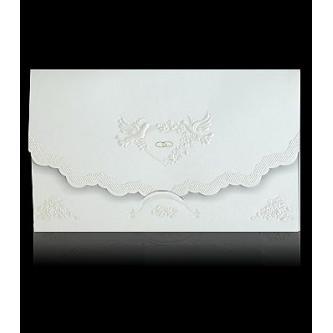 Otevírací krémové svatební oznámení, 169x98, perleťovo-krémový papír, perleťový slepotisk, zlatý tisk.