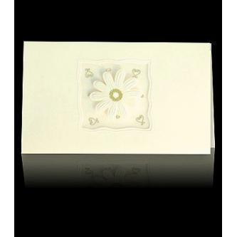 Otevírací krémové svatební oznámení, 170x100, plastická slepotisková květinka.