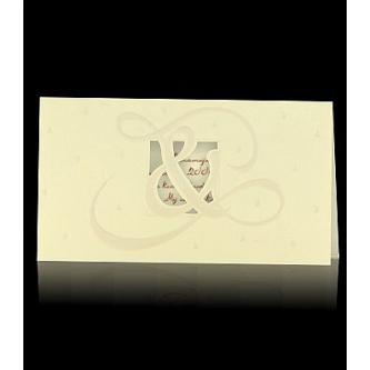 Krémové otevírací svatební oznámení, 190x100, uvnitř pauzovací papír, perleťový slepotisk, hnědý tisk.