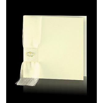 Krémové otevírací svatební oznámení, 140x140, perleťovo-krémový papír, perleťový potisk, krémová nylonová stužka, plastická zlatá srdíčka. Zlatý tisk.