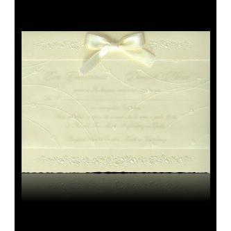 Krémové svatební oznámení, 160x120, smetanová mašlička.
