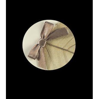 Otevírací svatební oznámení, 155x90, perleťovo-krémový papír, hnědá mašlička, tisk hnědou barvou.