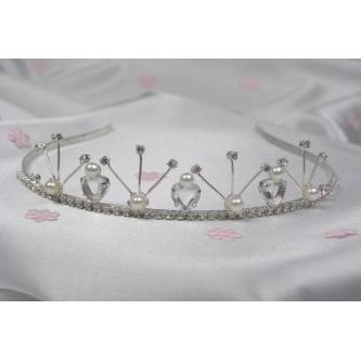Svatební korunka, 5806-0010-MS01 - krystal, perly - stříbro
