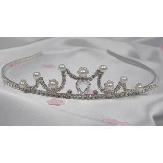 Svatební korunka, 5806-0011-MS01 - krystal, perly - stříbro