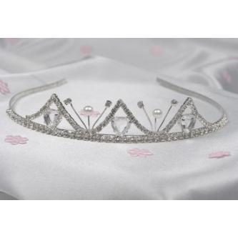 Svatební korunka, 5806-0012-MS01 - krystal, perleť - stříbro
