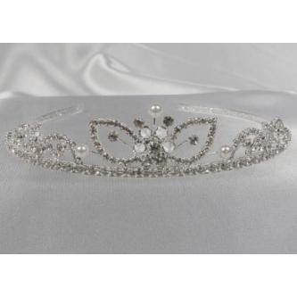 Svatební korunka, 5806-0026-MS01 - krystal, perly - stříbro