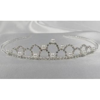 Svatební korunka, 5806-0027-MS01 - krystal,perly - stříbro