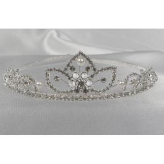 Svatební korunka, 5806-0028-MS01 - krystal, perly - stříbro