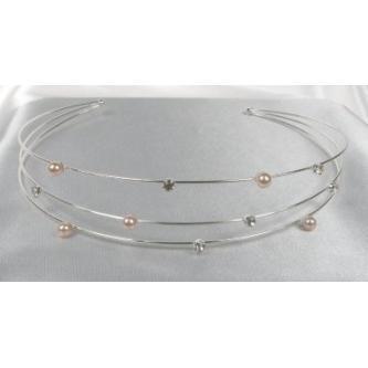 Svatební čelenka - 5806-0031 - MS01 - perly bílé, krystal - stříbro