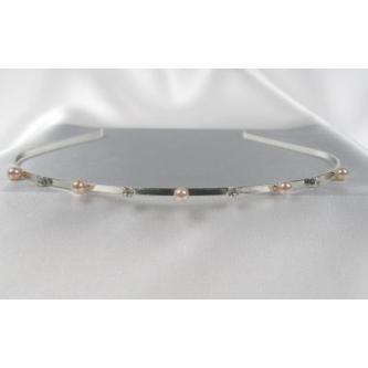 Svatební čelenka - 5806-0029 - MS01 - Bílé perly, krystal - stříbro