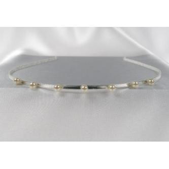 Svatební čelenka - 5806-0030 - MS01 - Bílé perly - stříbro