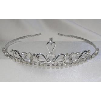 Svatební korunka, 5806-0006-MS01 - krystal, perly - stříbro