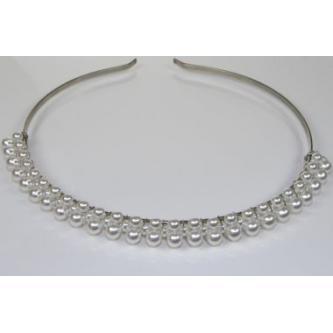 Svatební korunka, 128G12522 - 00 - Bílé perly - platina