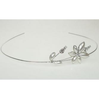 Svatební čelenka - 11271 - MS01 - Perleť, krystal - stříbro