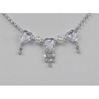 Svatební náhrdelník - 5801-0026 - MS01 - Krystal, perly - stříbro