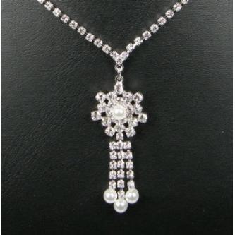Svatební náhrdelník - 5801-0048 - MS01 - Krystal, perly - stříbro