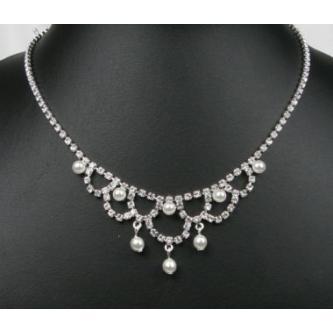 Svatební náhrdelník - 5801-0049 - MS01 - Krystal, perly - stříbro