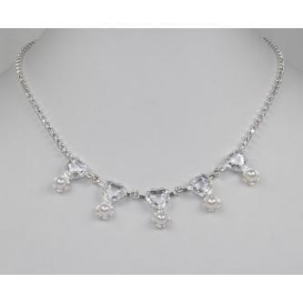 Svatební náhrdelník - 5801-0029 - MS01 - Krystal, perly- stříbro