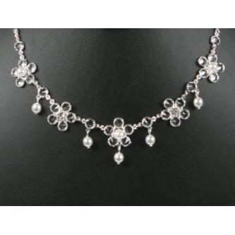 Svatební náhrdelník - 5801-0141 - MS01 - krystal,perly - stříbro