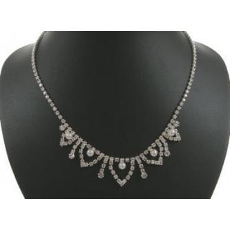 Svatební náhrdelník - 5801-0143 - MS01 - Krystal, perly - stříbro