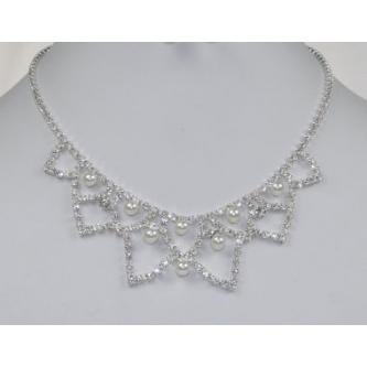Svatební náhrdelník - 5801-0144 - MS01 - Krystal, perly - stříbro