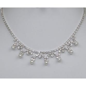 Svatební náhrdelník - 5801-0145 - MS01 - Krystal,perly - stříbro