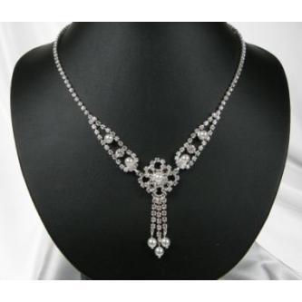 Svatební náhrdelník - 5801-0140 - MS01 - Krystal, perly - stříbro