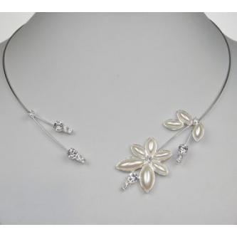 Svatební náhrdelník - 99056 - MS01 - Perleť, krystal - stříbro