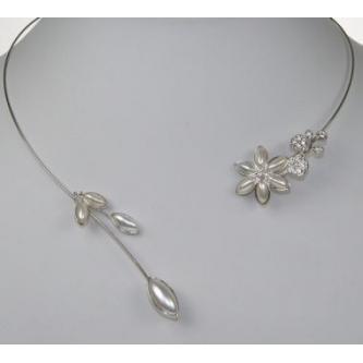 Svatební náhrdelník - 02021 - MS01 - Perleť, krystal - stříbro