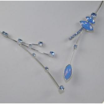 Svatební náhrdelník - 99065 - S02M - Světle modrá matná - stříbro