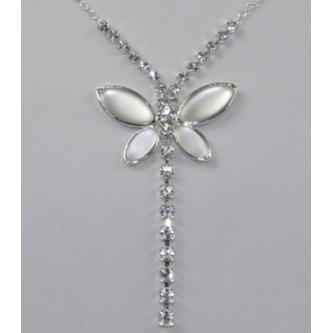 Svatební náhrdelník - 02118 - S00M - Krystal, matný krystal - stříbro