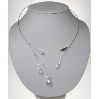Svatební náhrdelník - 97217 - MS01 - Perleť, krystal - stříbro