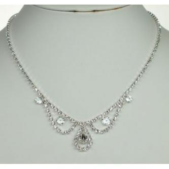 Svatební náhrdelník - 5801-0198 - S00 - Krystal - stříbro