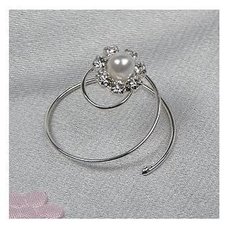 Spirála do vlasů bižuterie - 5805-0004-MS01 - Krystal, perla - stříbro