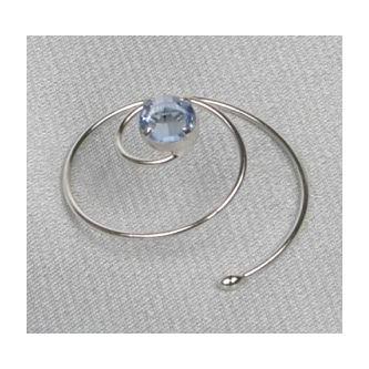 Spirála do vlasů bižuterie - 5805-0055 - S02 - Světlý safír - stříbro