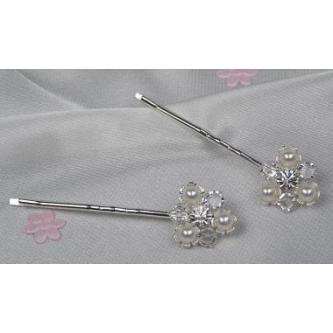 Sponky do vlasů bižuterie - 5805-0030-MS01 - Krystal,perleť - stříbro