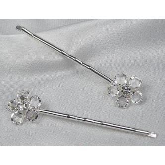 Sponky do vlasů bižuterie - 5805-0031-S00 - Krystal - stříbro